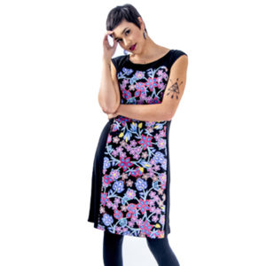 Beadwork Floral Dress Black
